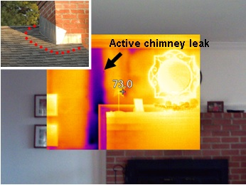 infrared camera detects an active chimney leak