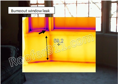window leak,seen by infrared camera