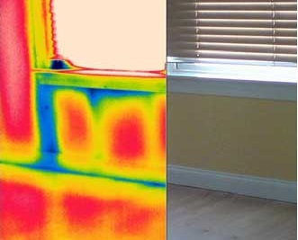 Cold air infiltration through the bottom of a window as seen in infrared